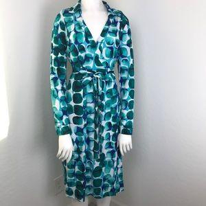 Calvin Klein Blue & Green Long Sleeve Wrap Dress